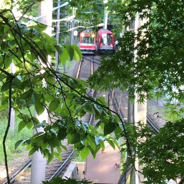 五月晴れの中、今日も登山電車は登っていきました!